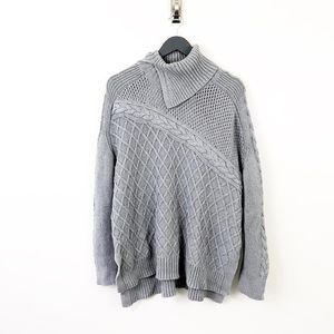 VINCE CAMUTO CHUNK KNIT GRAY TURTLENECK SWEATER L